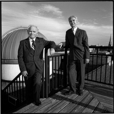 Photograph of Matest Agrest and Lev Chernomordik (professors) on the College of Charleston Science Center Observatory Deck