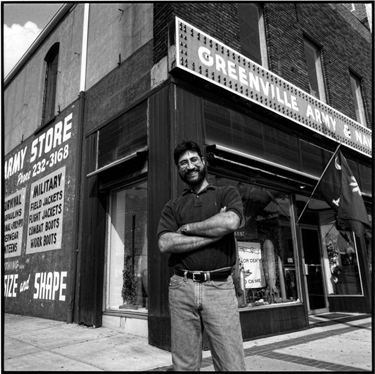 Photograph of Jeff Zaglin, proprietor of Greenville Army and Navy Store