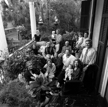 Photograph of the Ziff family on the piazza of Stephen and Julie Ziff's house