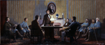 Painting of the Last Council of War Meeting of Confederate President Jefferson Davis with his Military Chiefs and Advisors