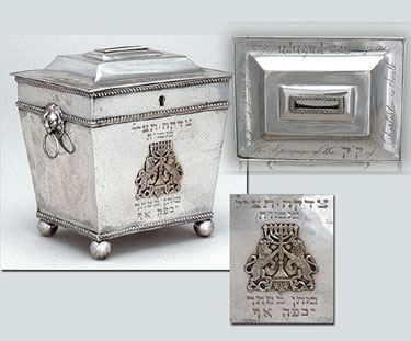 Silver charity box with hinged cover