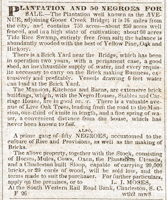 Advertisement for sale of The Avenue, 1840