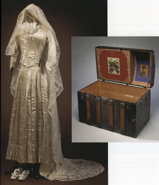 Wedding dress and trousseau trunk of Rebecca Winstock Rosenberg, ca. 1885