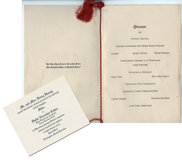 Wedding invitation and menu, Darlington, S.C., 1918
