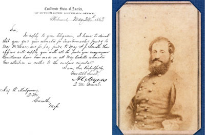 Letter (1862) and carte de visite of A. C. Myers, Quartermaster General of the Confederate States of America