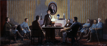 The Last Council of War Meeting of Confederate President Jefferson Davis with his Military Chiefs and Advisors, painted by Wilber George Kurtz,1922